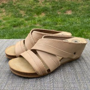 OTBT Departure Tan Leather Strappy Wedge Sandals